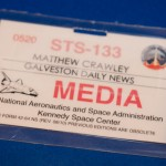 My credential to cover the launch of Discovery's STS-133 mission.